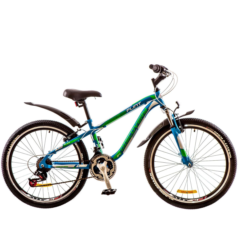 Фото Горный Велосипед 24 Discovery FLINT сине-бело-зеленый  2018