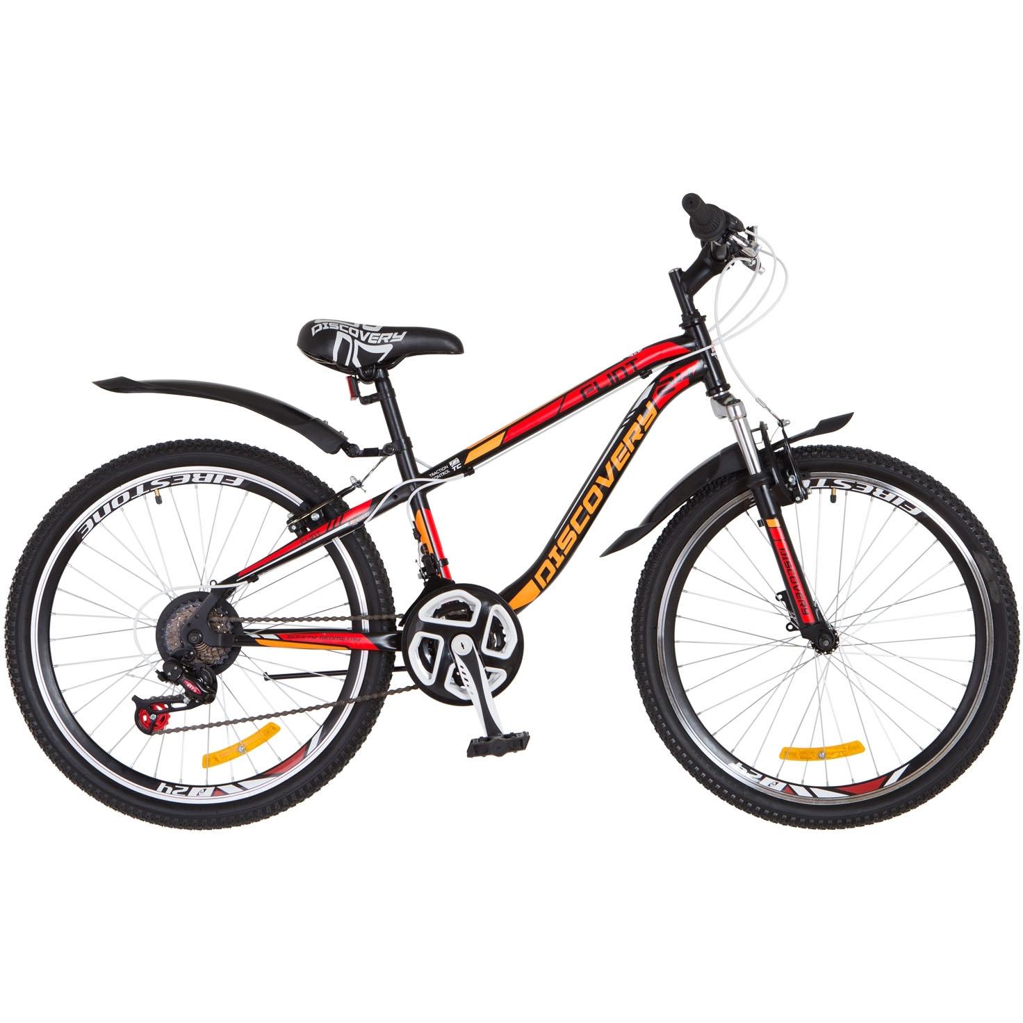 Фото Горный Велосипед 24 Discovery FLINT DD черно-оранжево-красный 2018