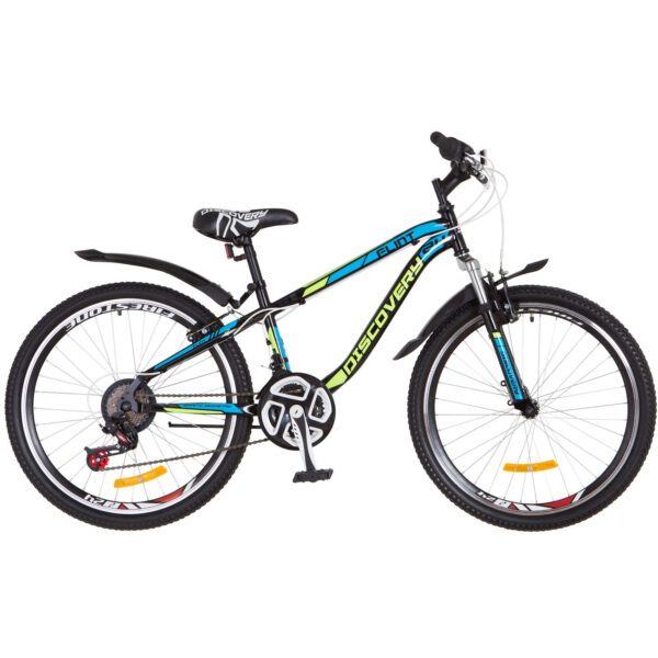 Фото Горный Велосипед 24 Discovery FLINT черно-салатно-синий 2018