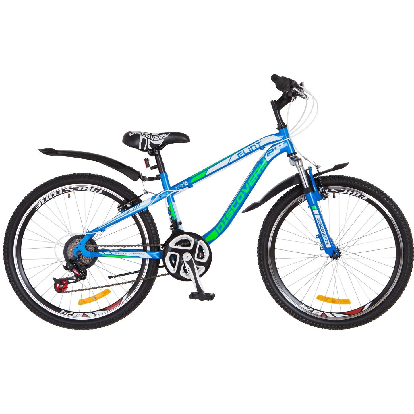 Фото Горный Велосипед 24 Discovery FLINT DD сине-бело-зеленый 2018
