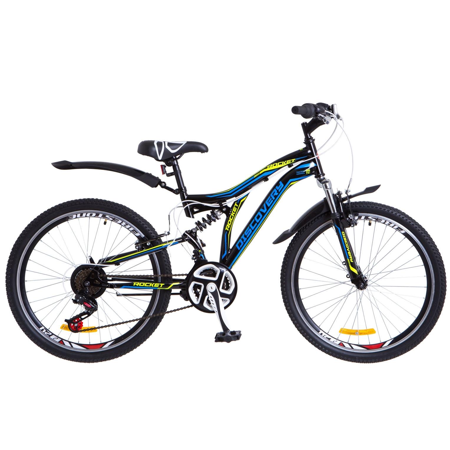Фото Горный Велосипед 24 Discovery ROCKET черно-синий с желтым 2018