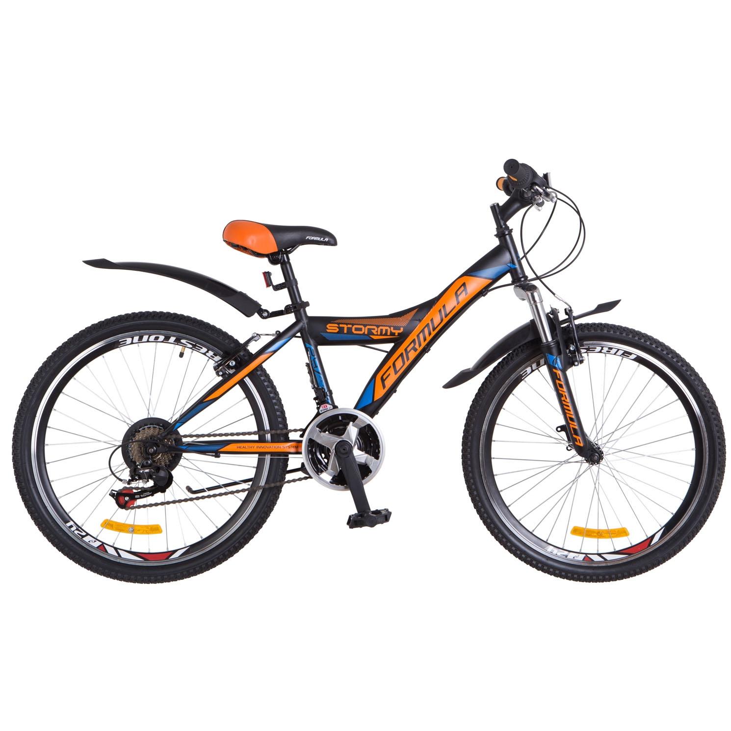 Фото Горный Велосипед 24 Formula STORMY черно-оранжевый с синим 2018