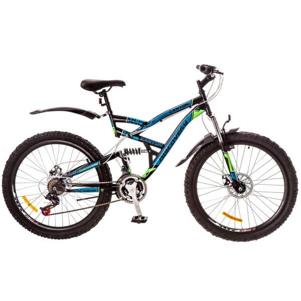 Фото Горный Велосипед 26 Discovery CANYON черно-сине-зеленый 2018