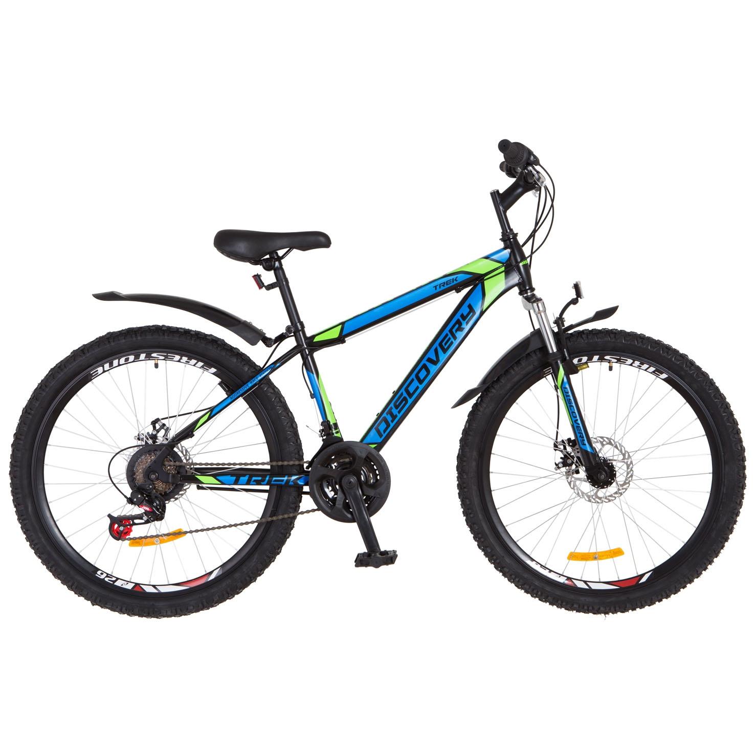 Фото Горный Велосипед 26 Discovery TREK DD черно-сине-зеленый с крылом