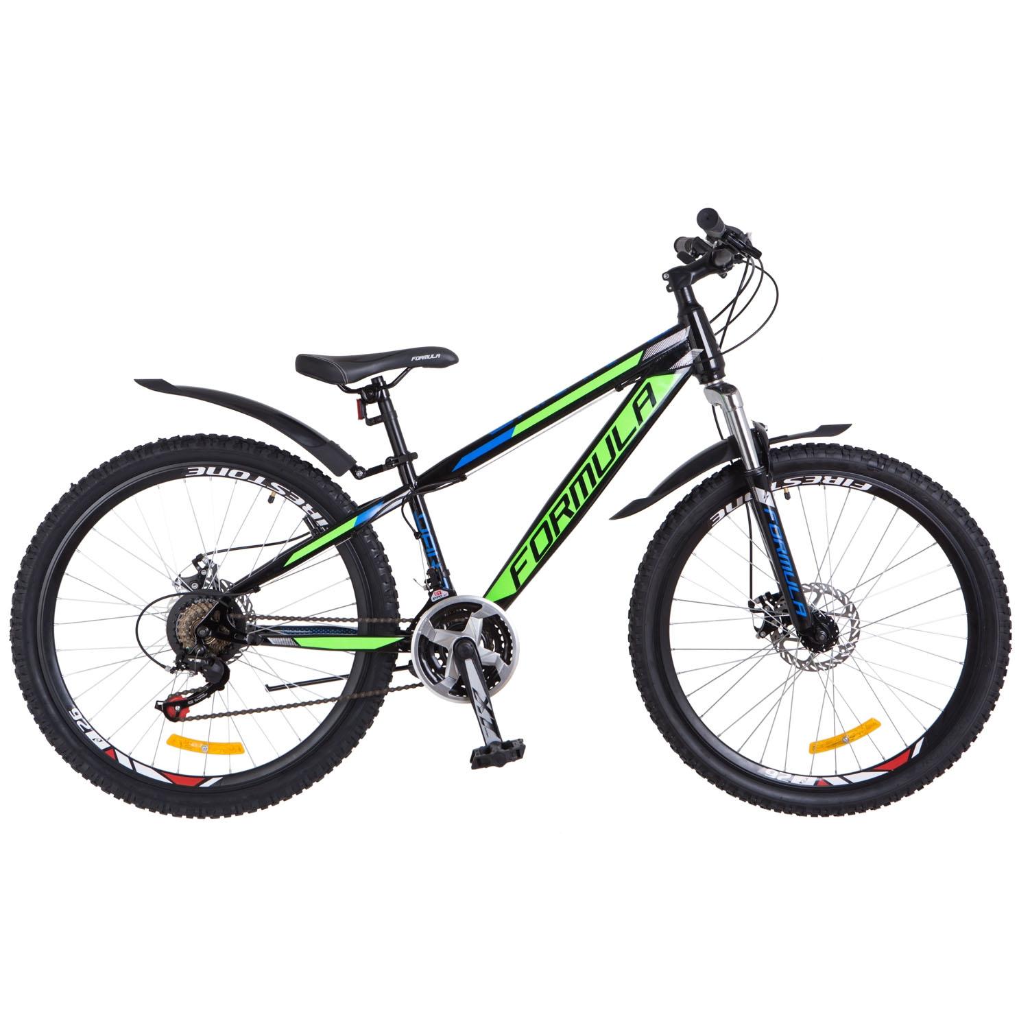 Фото Подростковый Горный Велосипед 24 Formula DAKAR DD  черно-зелен. 2018