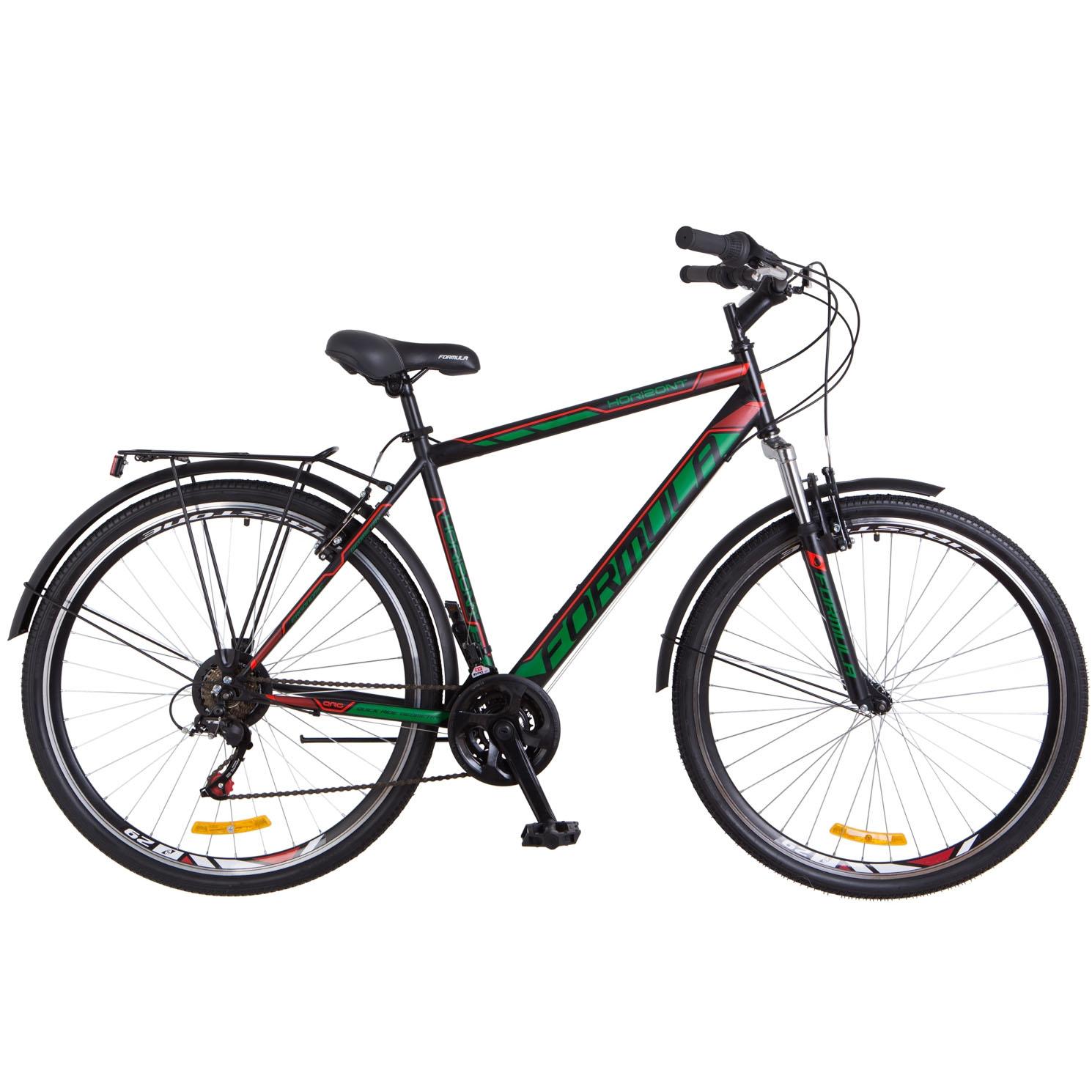Фото Городской Велосипед 28 Formula HORIZONT черно-зеленый с красным 2018