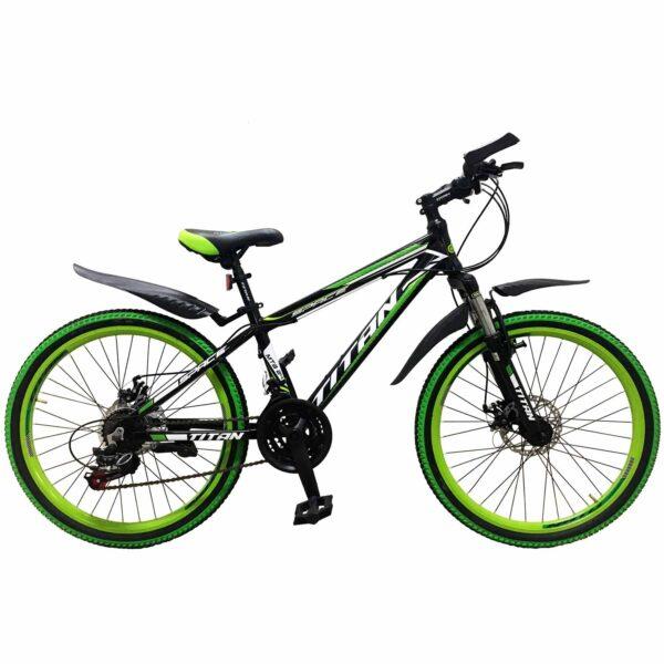 """Фото Горный Подростковый Велосипед Titan Space 24"""" черно-зелено-белый"""