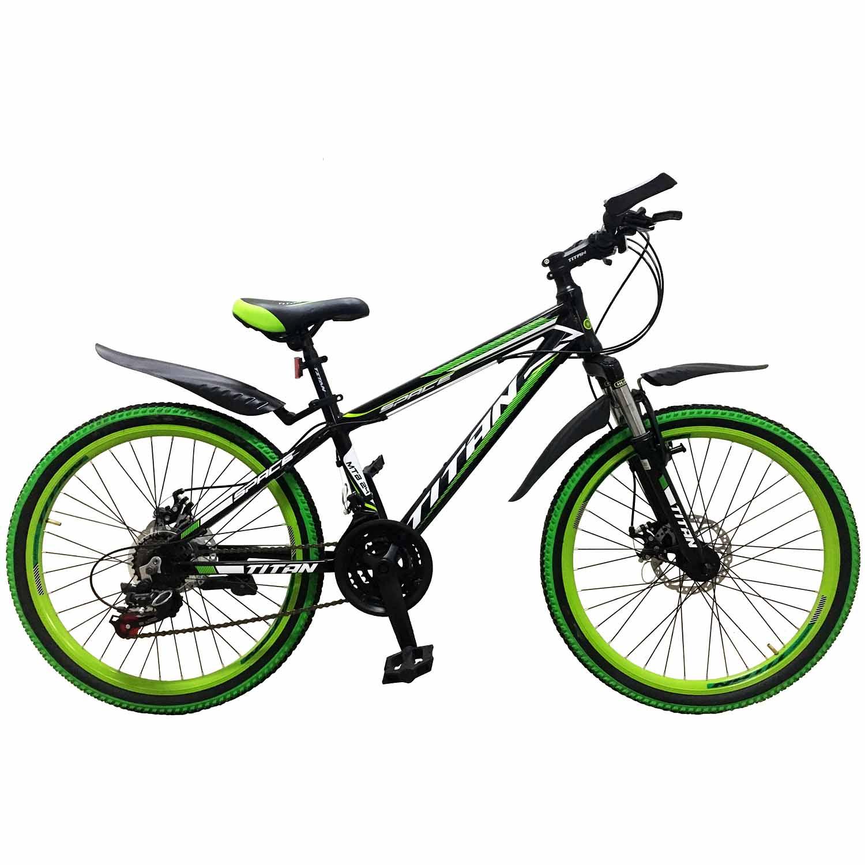 Фото Горный Подростковый Велосипед Titan Space 24″ черно-зелено-белый