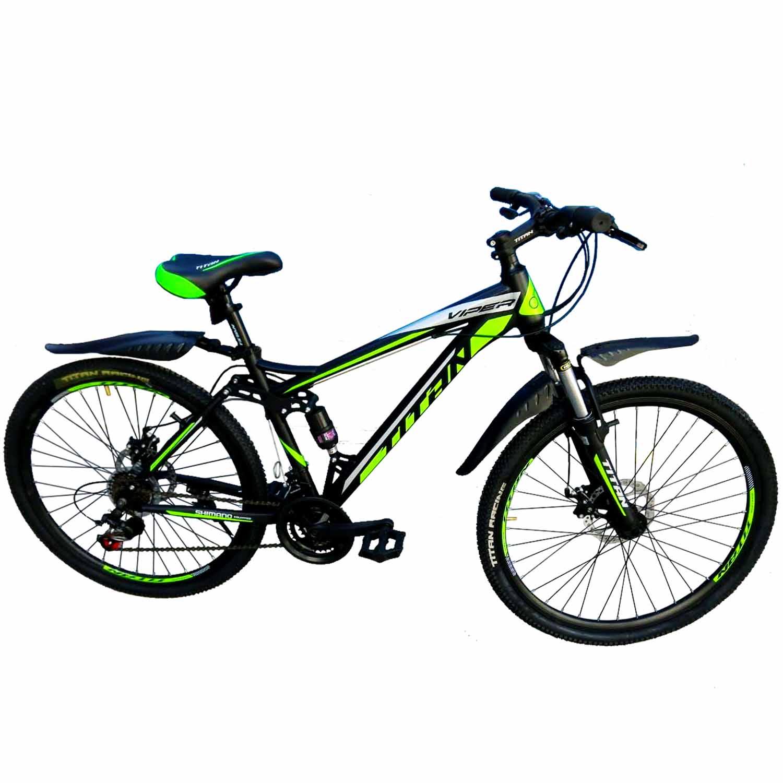 Фото Горный Велосипед Titan Viper 26 черно-светлозеленый