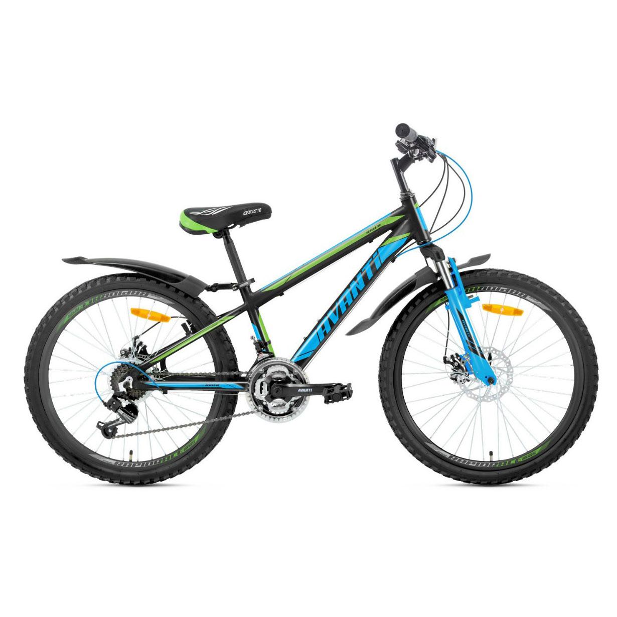 Фото Подростковый Велосипед 24 Avanti Rider disk 2018 черно-сине-зеленый