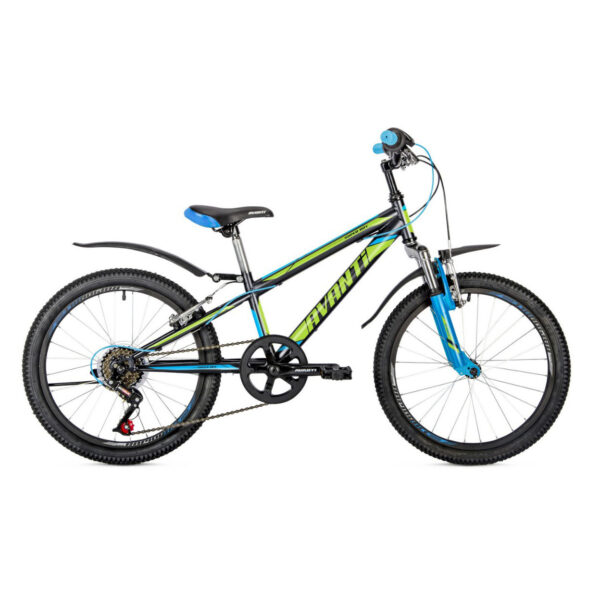 Фото Детский Велосипед 20 Avanti Super Boy 2018 черно-зелено-синий