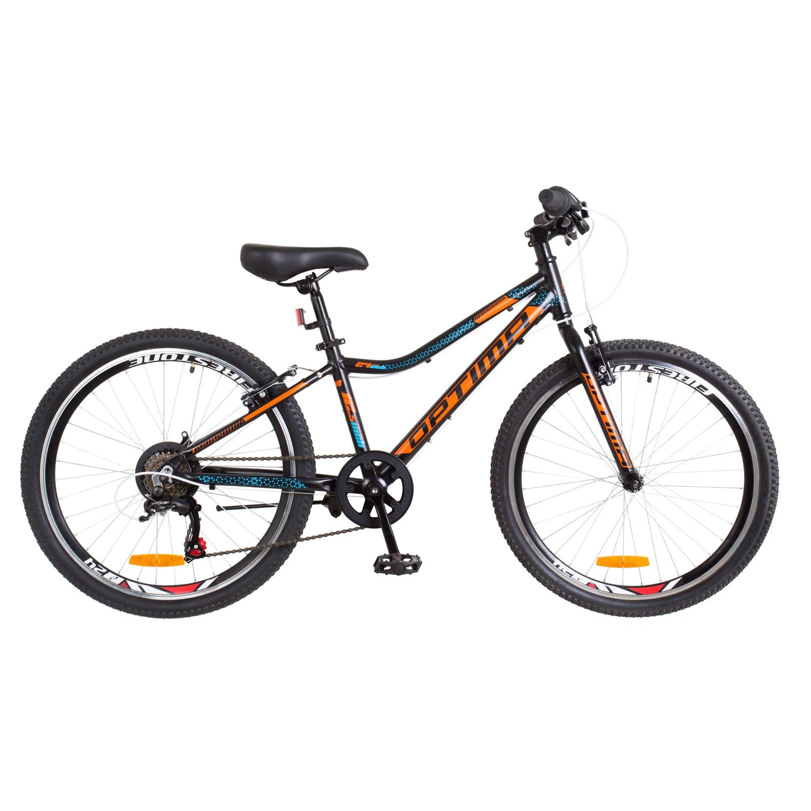 Фото Горный Велосипед 24 Optimabikes BLACKWOOD черно-оранжево-синий