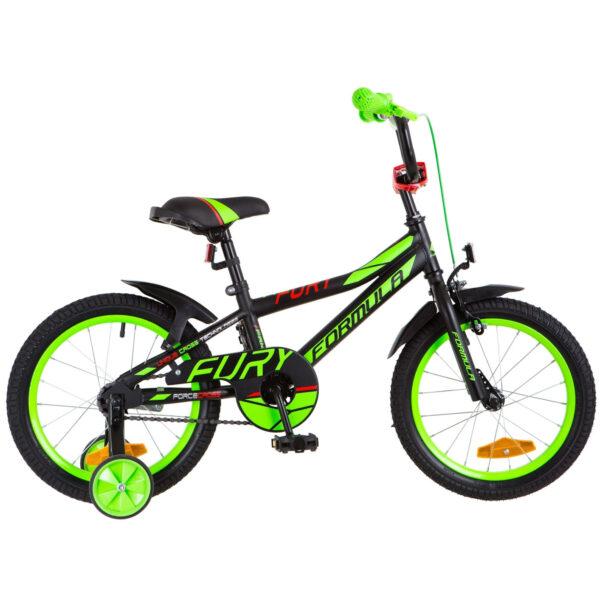 """Фото Детский Велосипед 16"""" Formula FURY   черно-зеленый с красным 2018"""