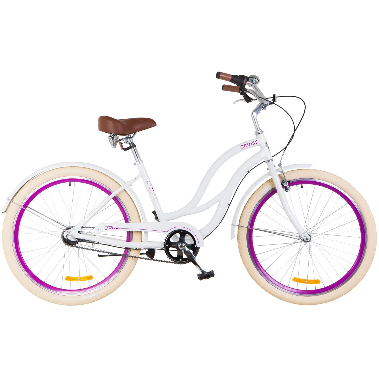 Фото Городской Велосипед 26″ Dorozhnik CRUISE 14G планет. бело-фиолетовый 2018