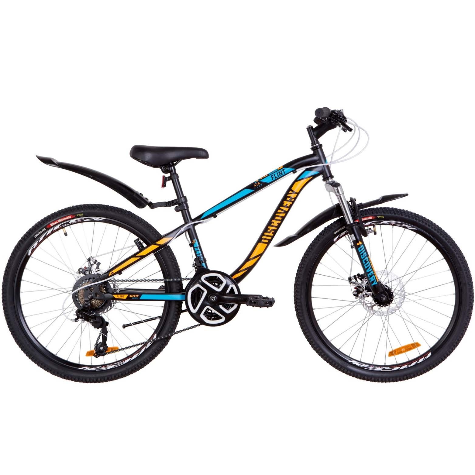 Фото Подростковый Велосипед 24  Discovery FLINT DD черно-синий с оранжевым (м)   2019