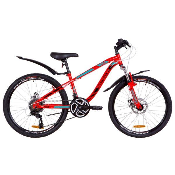Фото Подростковый Велосипед 24  Discovery FLINT DD красно-бирюзовый с черным   2019