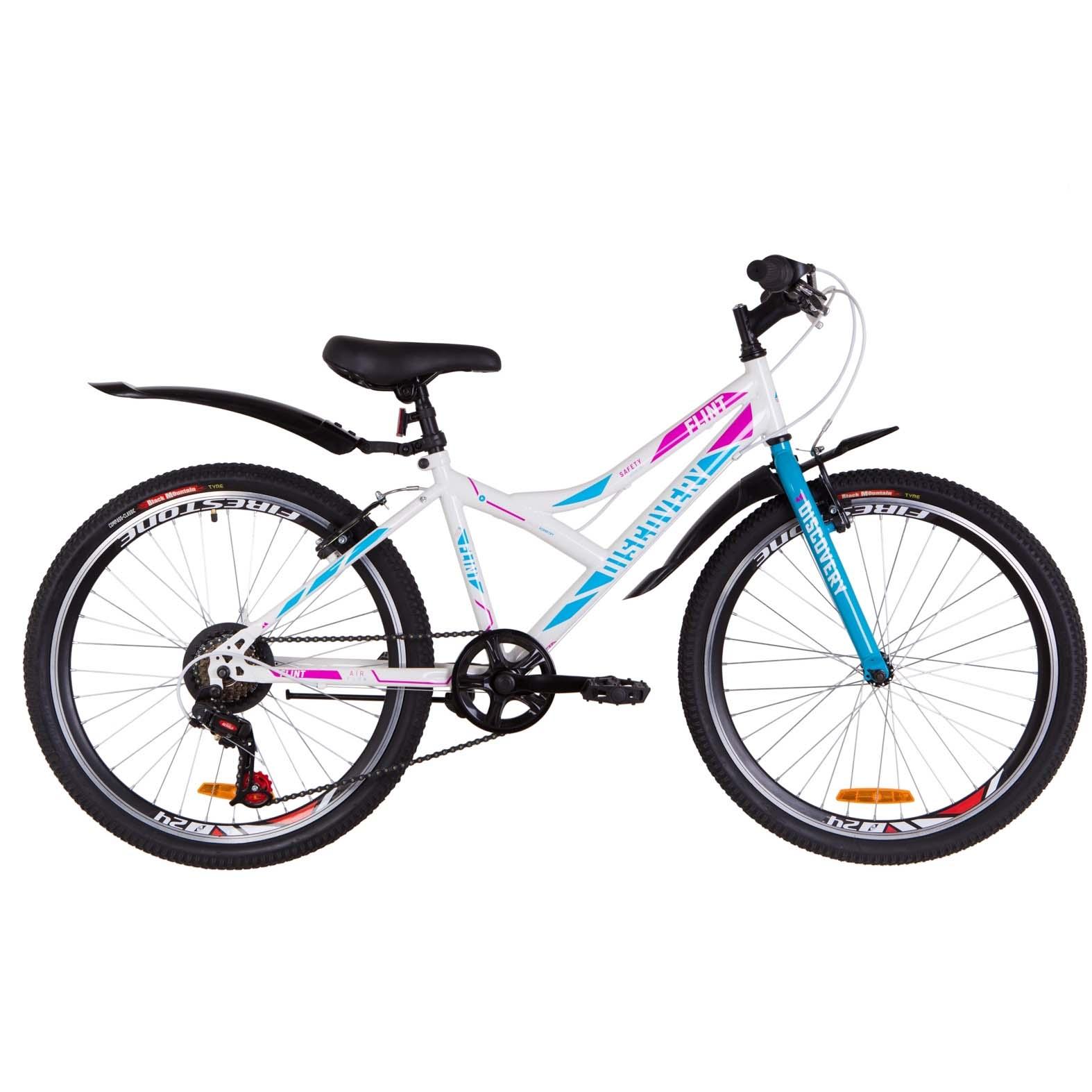 Фото Подростковый Велосипед 24   Discovery FLINT бело-голубой с розовым 2019