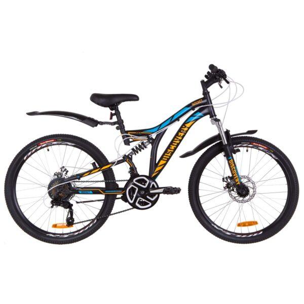 Фото Подростковый Велосипед 24  Discovery ROCKET DD  черно-оранжевый с синим 2019