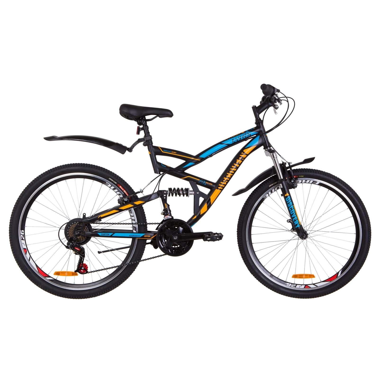 Фото Двухподвесный Велосипед 26  Discovery CANYON черно-синий с оранжевым 2019