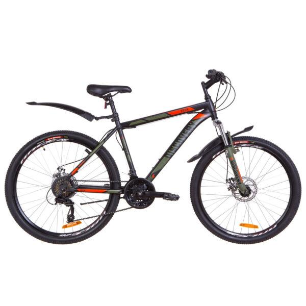 """Фото Горный Велосипед 26  Discovery TREK DD рама 18"""" черно-оранжевый хаки (м)  2019"""