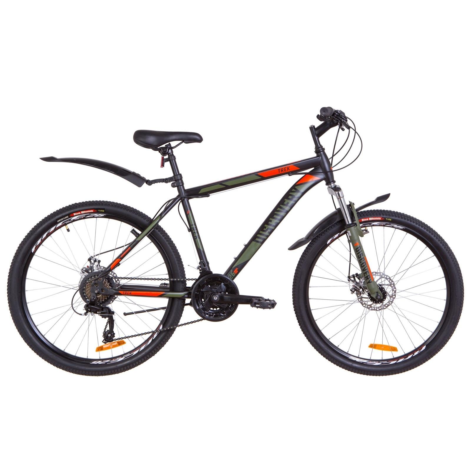 Фото Горный Велосипед 26  Discovery TREK DD рама 18″ черно-оранжевый хаки (м)  2019