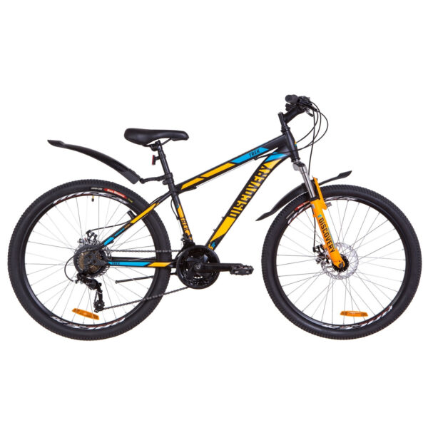 """Фото Подростковый Велосипед 26  Discovery TREK DD рама 13"""" черно-оранжевый с синим 2019"""