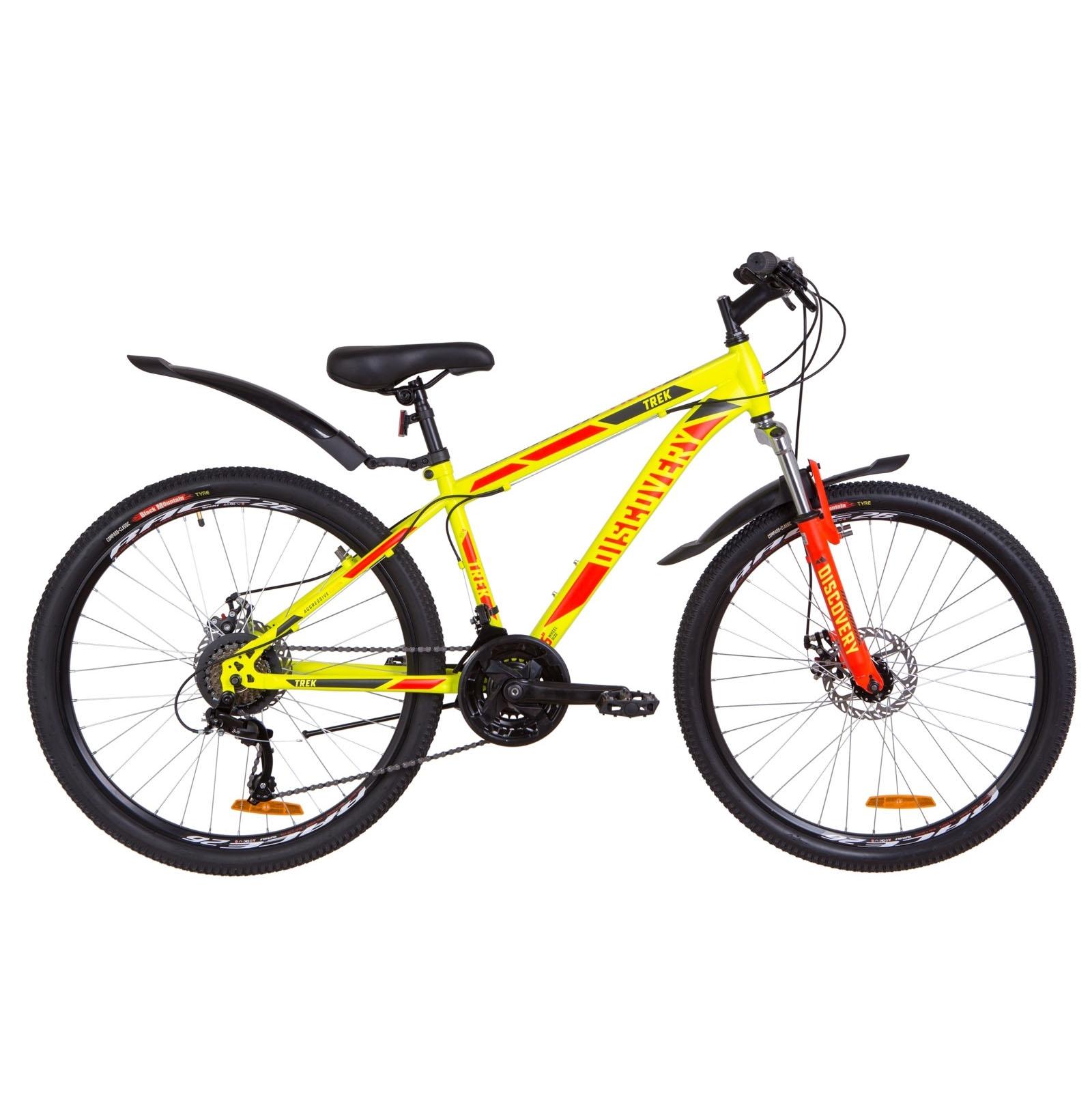 Фото Подростковый Велосипед 26  Discovery TREK DD рама 15″ желтый 2019