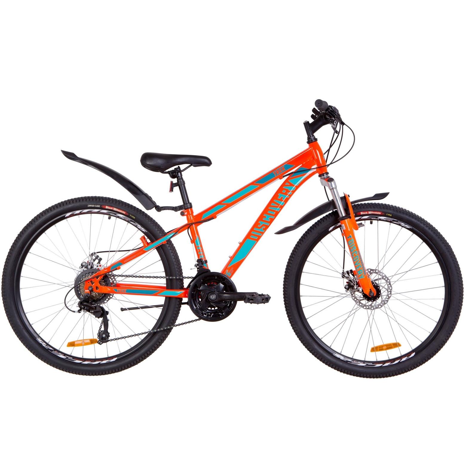 Фото Подростковый Велосипед 26  Discovery TREK DD рама 13″ оранжево-бирюзовый 2019