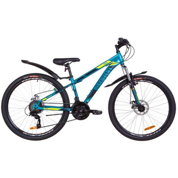 """Фото Подростковый Велосипед 26  Discovery TREK DD рама 13"""" малахитовый с желтым 2019"""