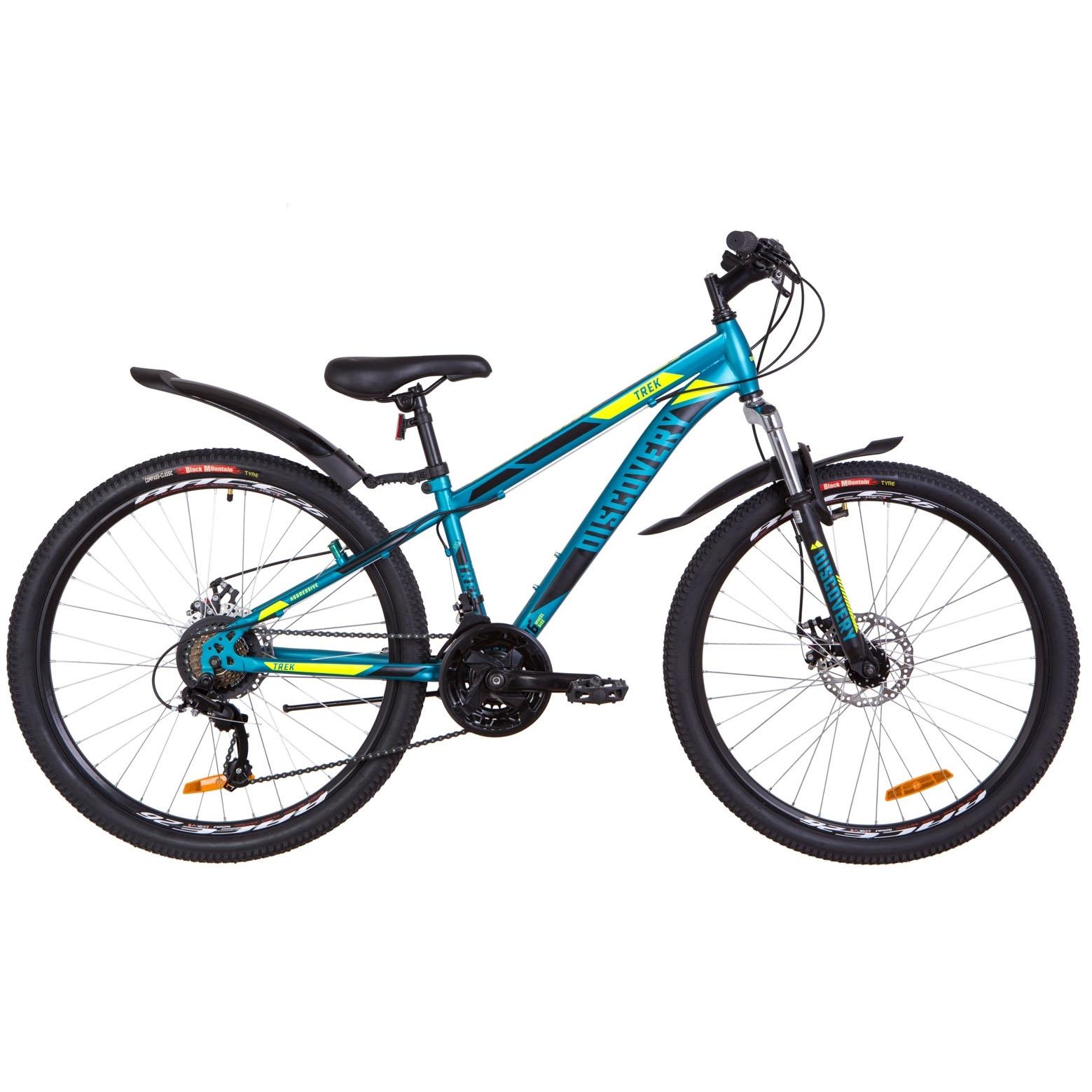 Фото Подростковый Велосипед 26  Discovery TREK DD рама 13″ малахитовый с желтым 2019