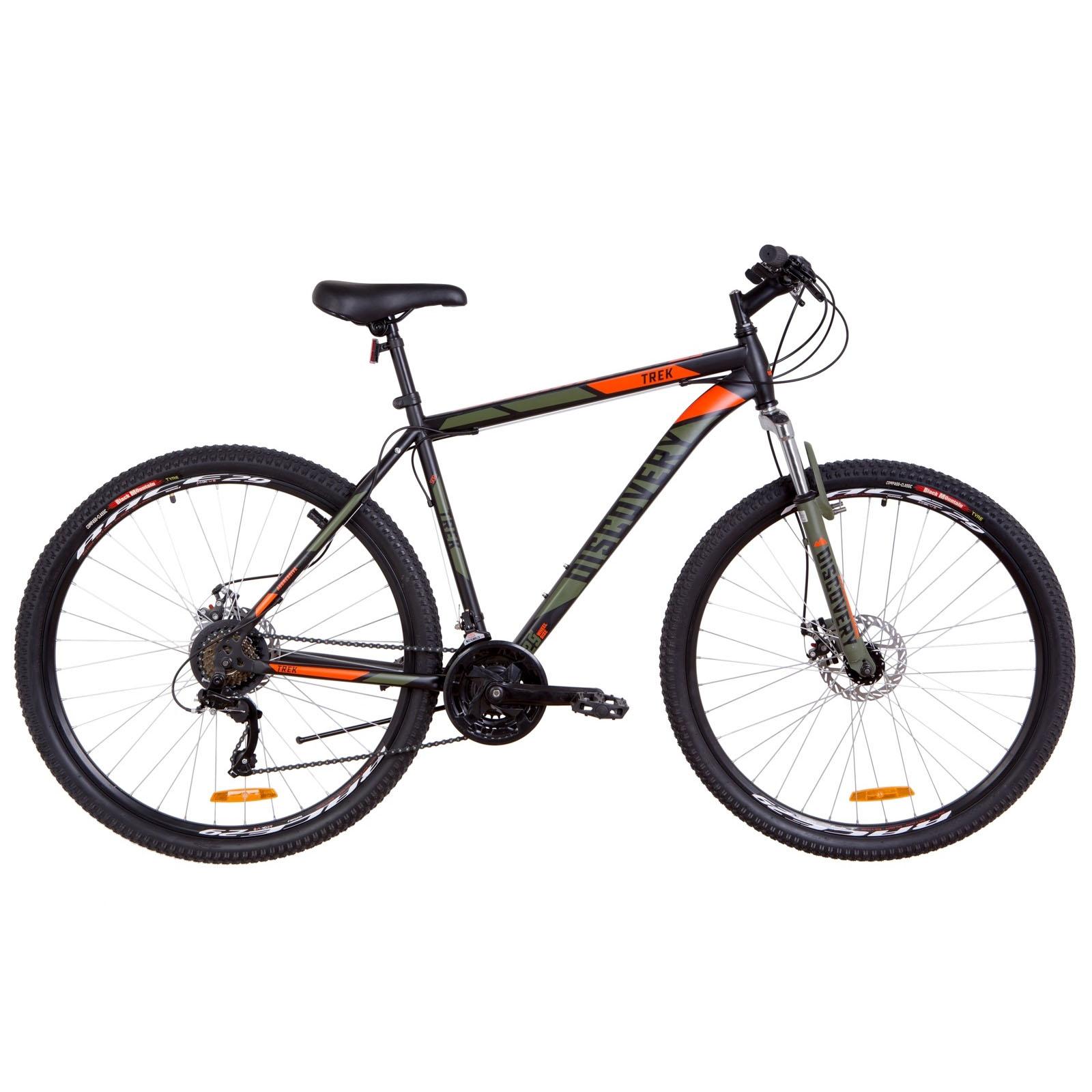 Фото Горный Велосипед 29  Discovery TREK DD черно-оранжевый хаки (м) 2019