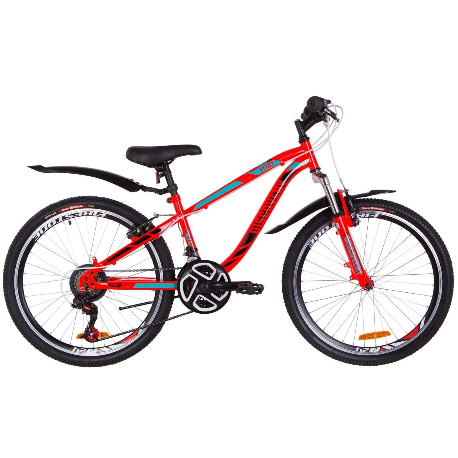 Фото Подростковый Велосипед 24  Discovery FLINT  красно-бирюзовый с черным   2019