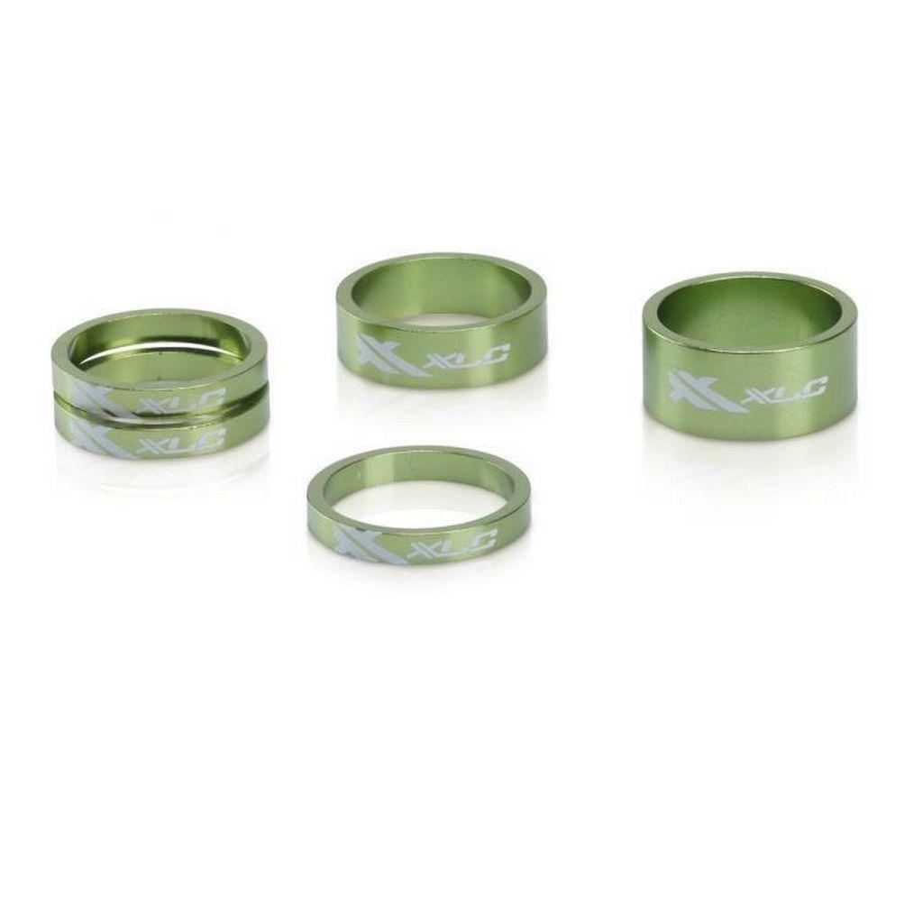 Фото Проставочные кольца, XLC AS-A02, 1 1/8″, зеленые, 3 x 5 mm, 1 x 10 mm,  1 x 15 mm, 1 x 15 mm