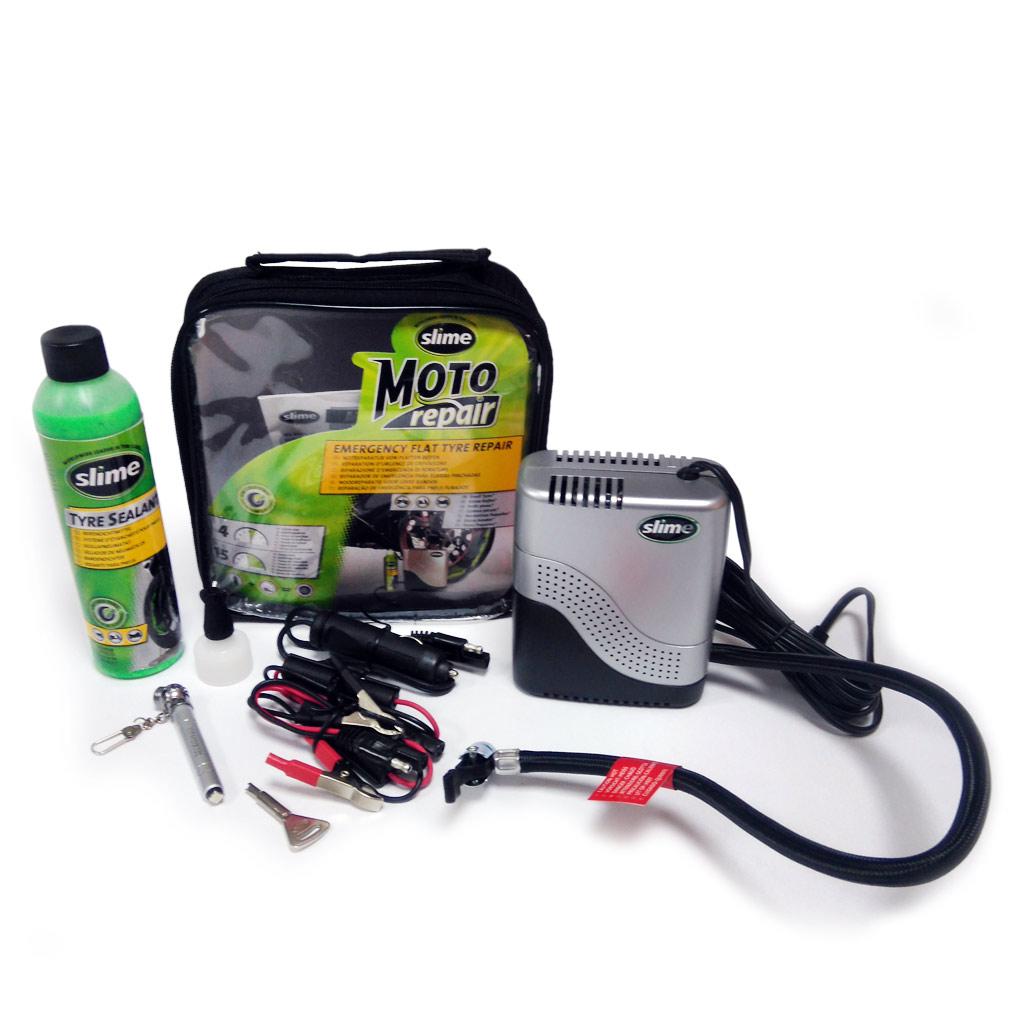 Фото Ремкомплект для мотопокрышек MOTO Power Sport (Герметик + воздушный компрессор), Slime