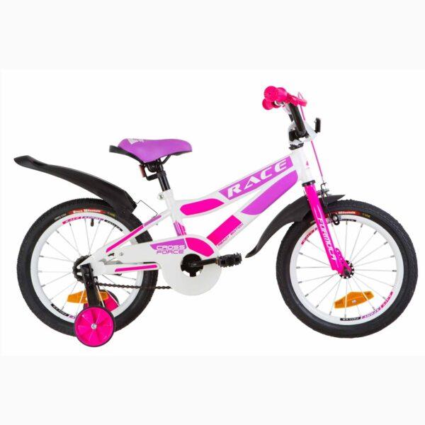 Фото Детский Велосипед 16 Formula RACE усилен.  бело-малиновый с фиолетовым  2019