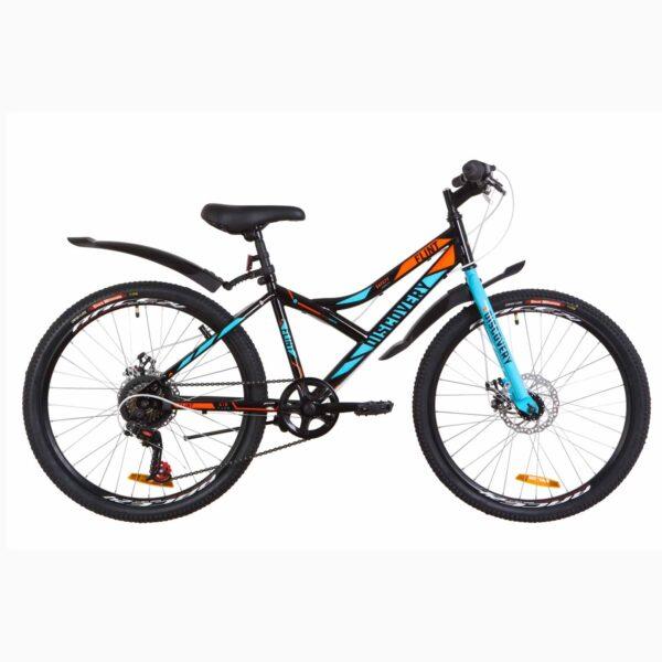 """Фото Подростковый  Велосипед 24 Discovery FLINT  DD  рама-14"""" черно-синий с оранжевым  2019"""
