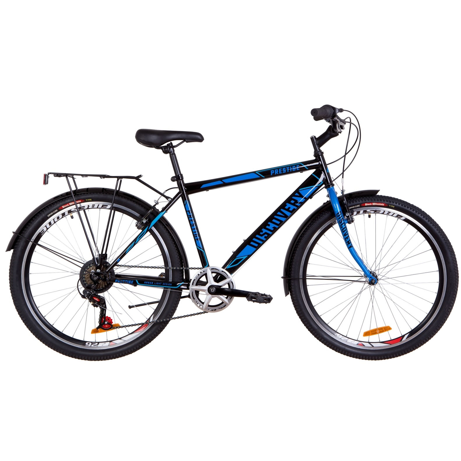 Фото Городской Велосипед 26 Discovery PRESTIGE MAN черно-синий 2019