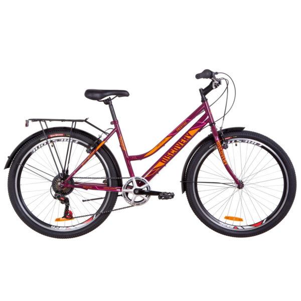Фото Женский Велосипед 26 Discovery PRESTIGE WOMAN бордово-оранжевый с розовым 2019