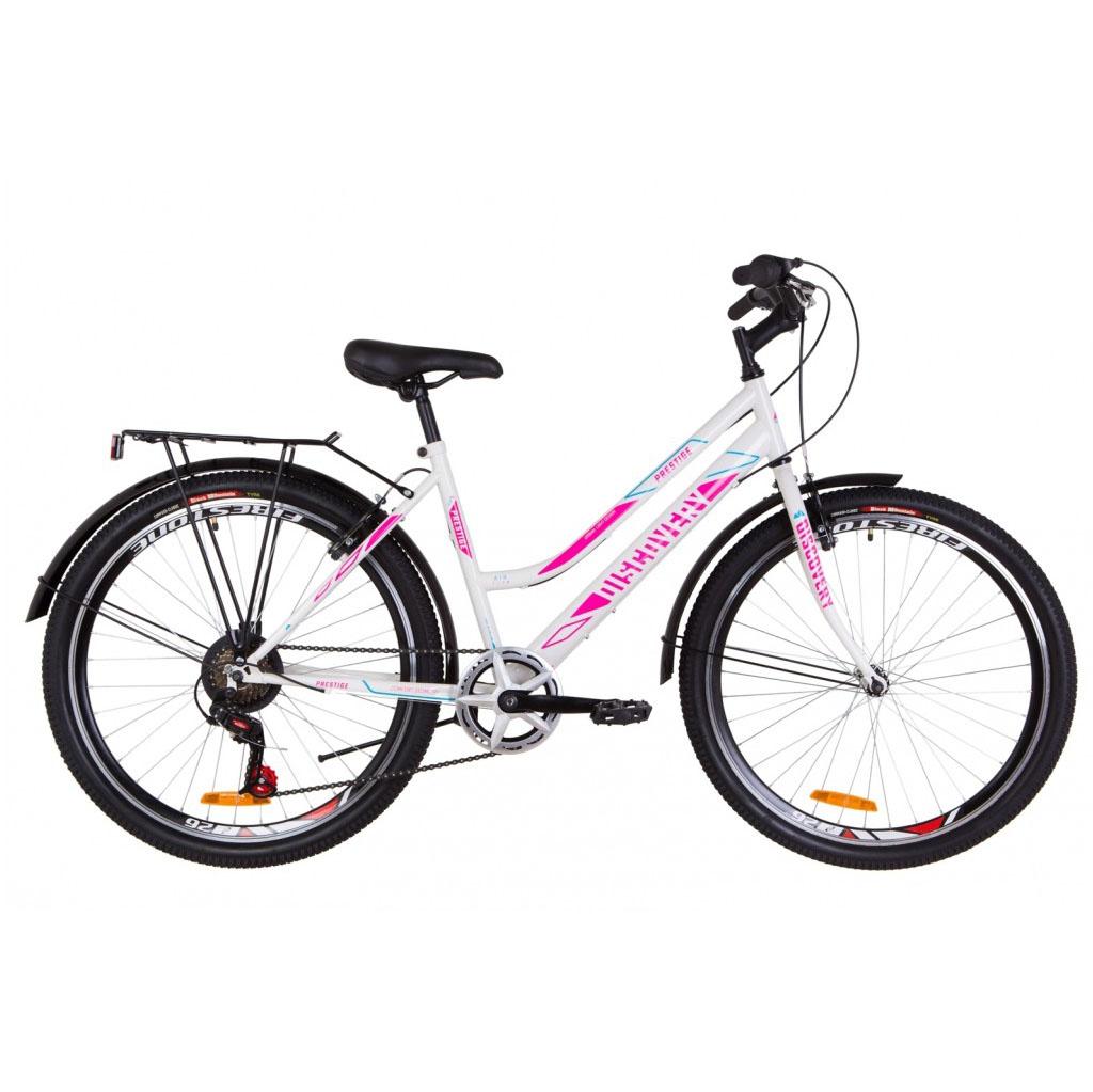 Фото Женский Велосипед 26 Discovery PRESTIGE WOMAN бело-малиновый с голубым 2019