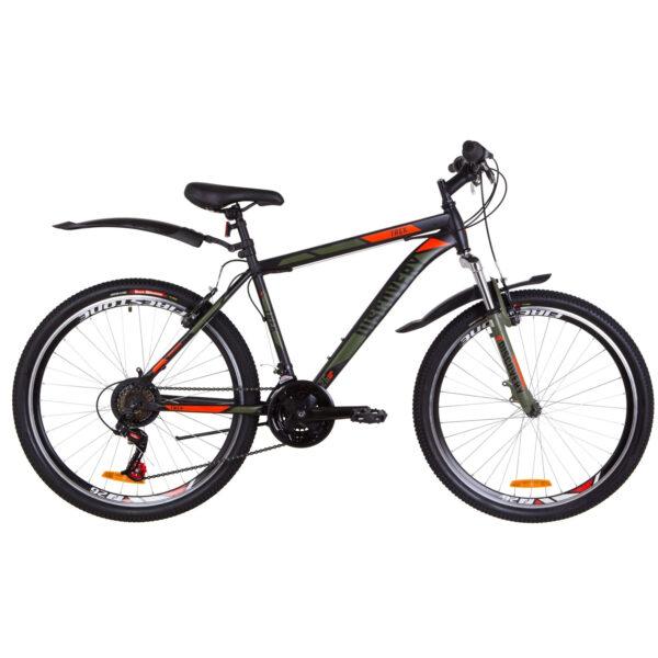 """Фото Подростковый Горный Велосипед 26 Discovery TREK рама-13""""  черно-оранжевый с синим (м) 2019"""