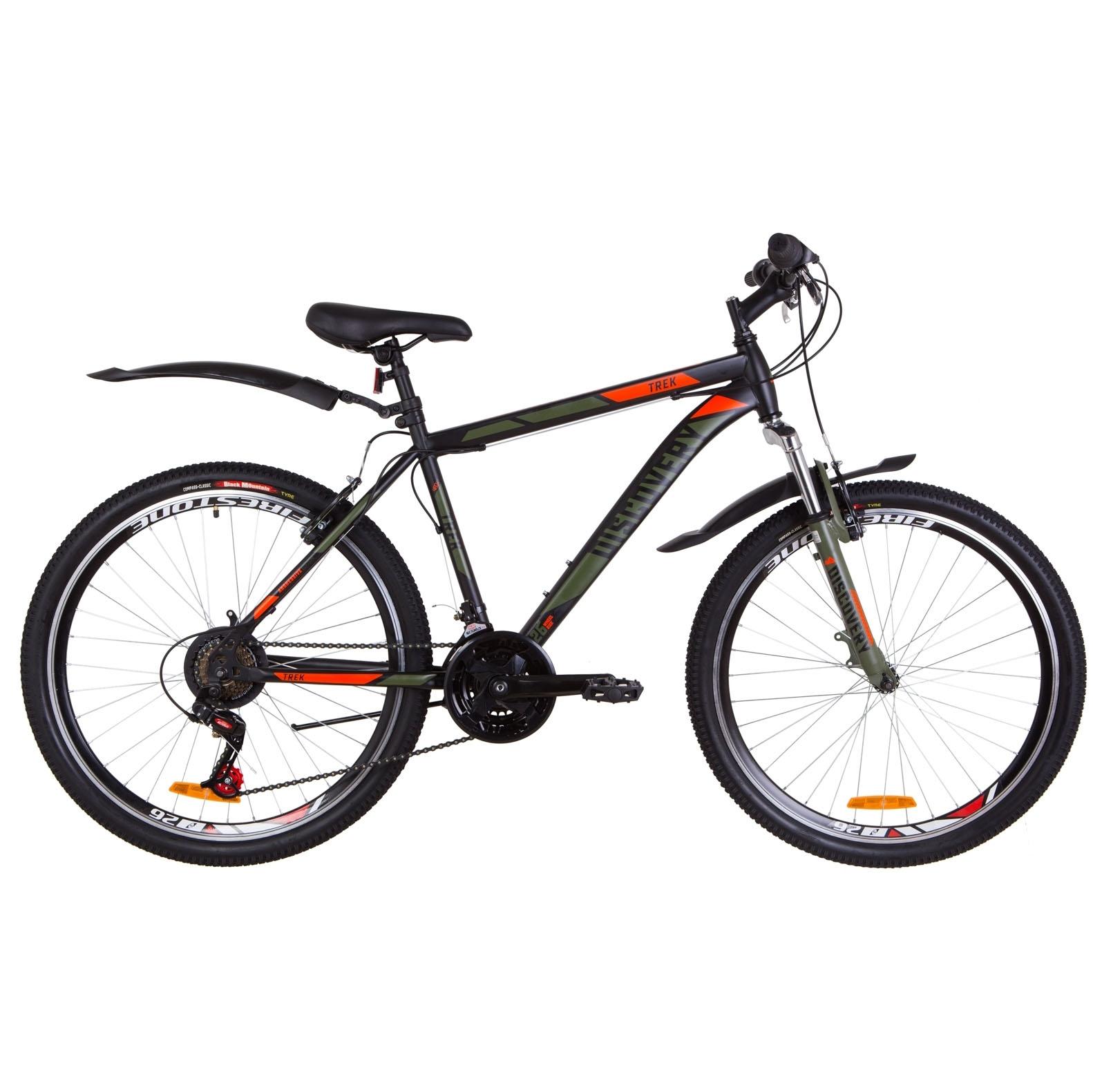 Фото Подростковый Горный Велосипед 26 Discovery TREK рама-13″  черно-оранжевый с синим (м) 2019