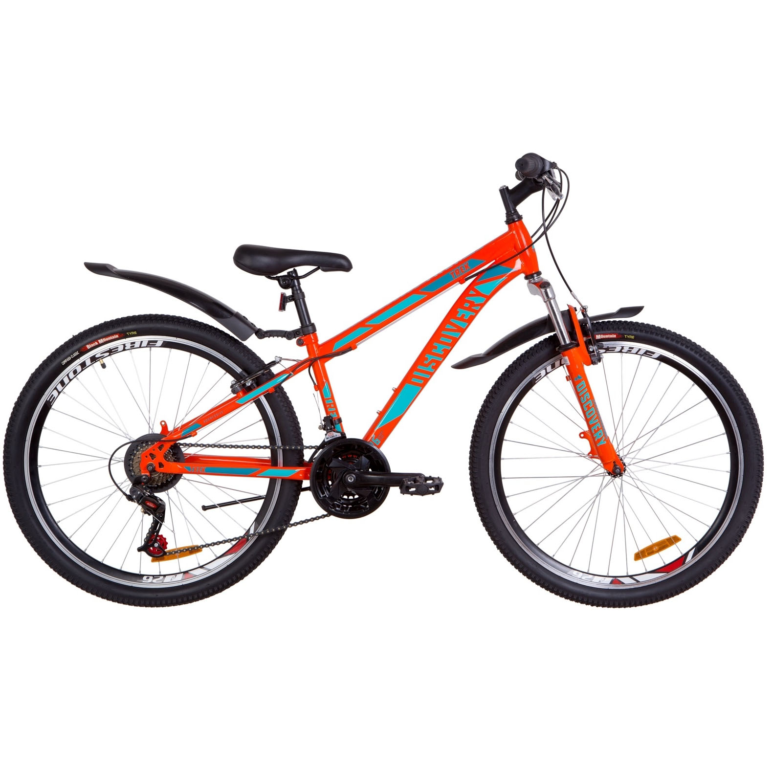 Фото Подростковый Горный Велосипед 26 Discovery TREK рама-15″  оранжево-бирюзовый 2019