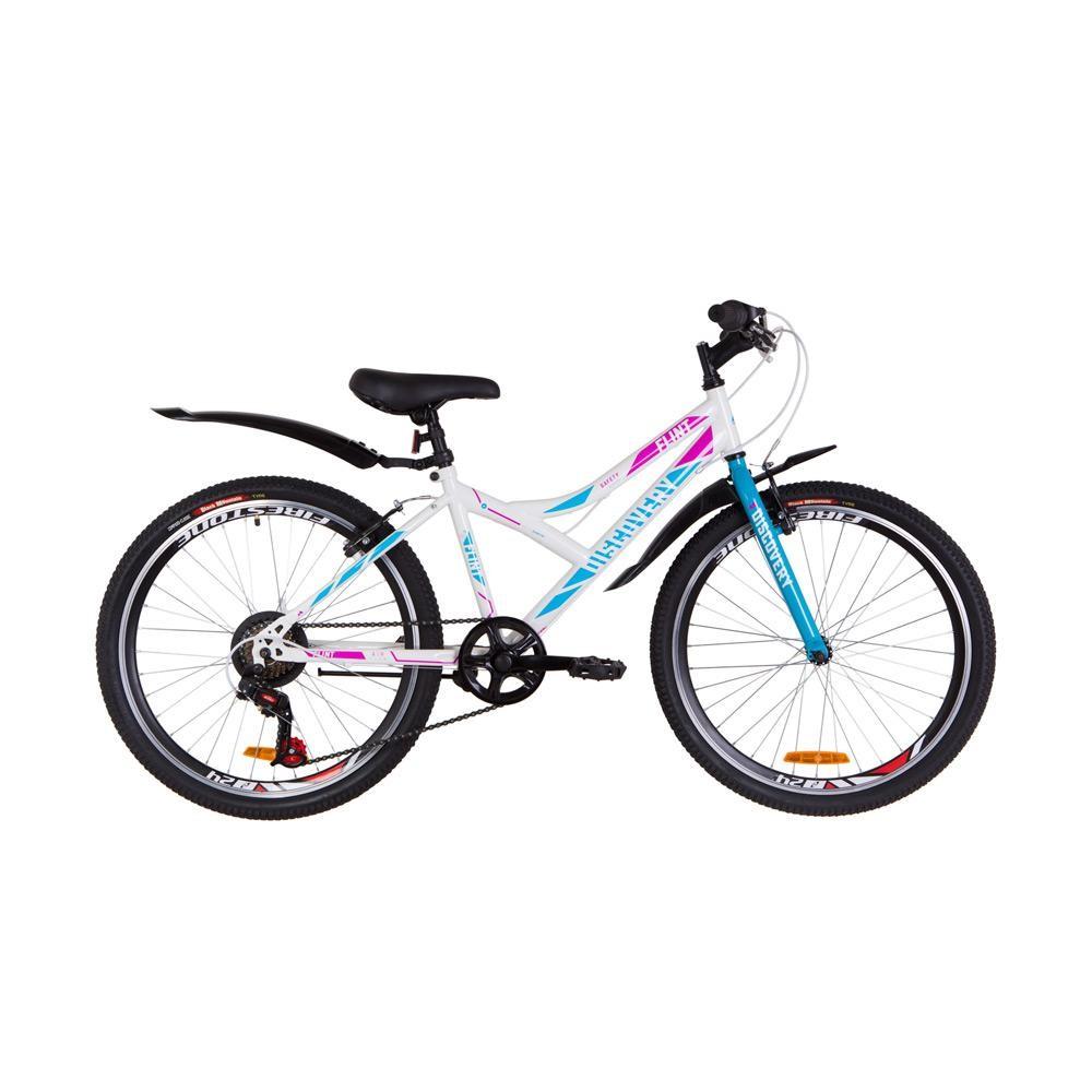 Фото Подростковый  Велосипед 24 Discovery FLINT  DD  рама-14″ бело-голубой с розовым  2019