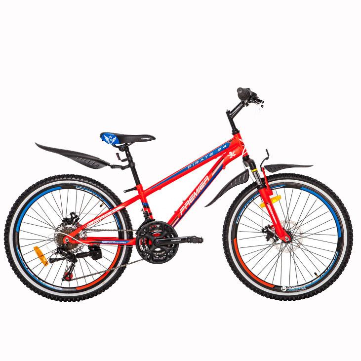 Фото Велосипед ст Premier Pirate 24 Disc 11″ красный с голуб.-бел.-черным