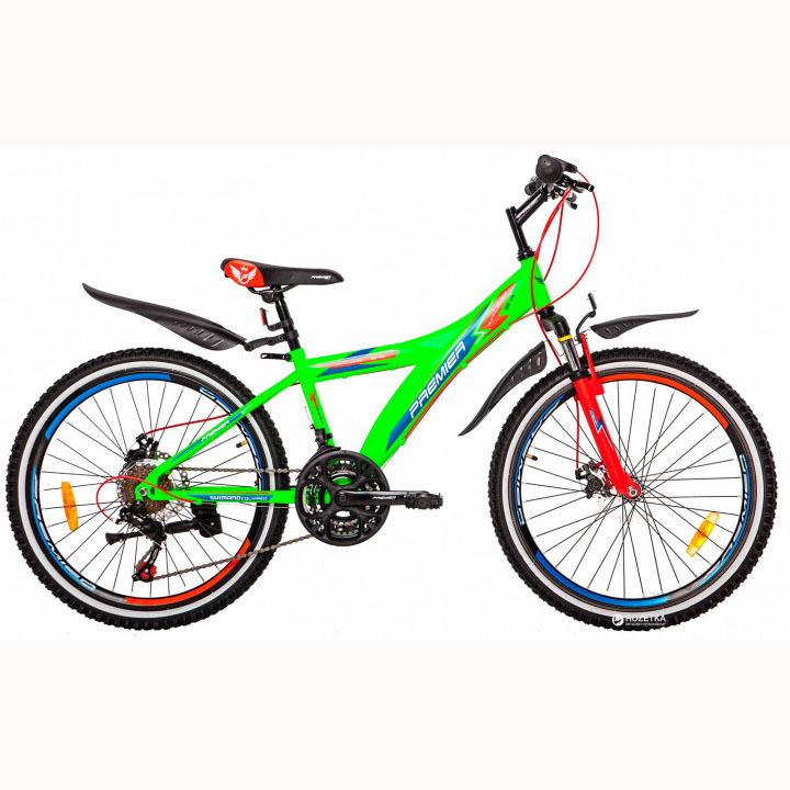 Фото Велосипед ст Premier Explorer 24 Disc 13″ зеленый с голуб.-красн.