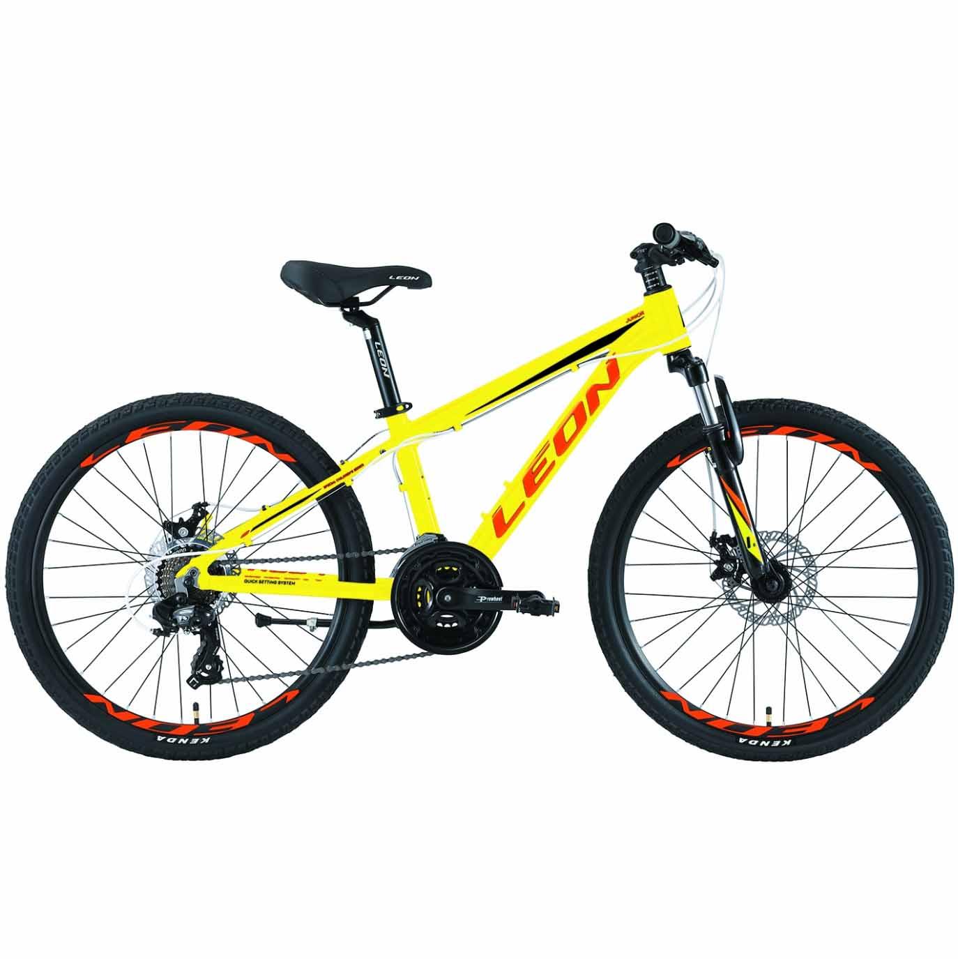 Фото Горный Детский Велосипед 24 Leon JUNIOR DD  салатно-оранжевый   2019