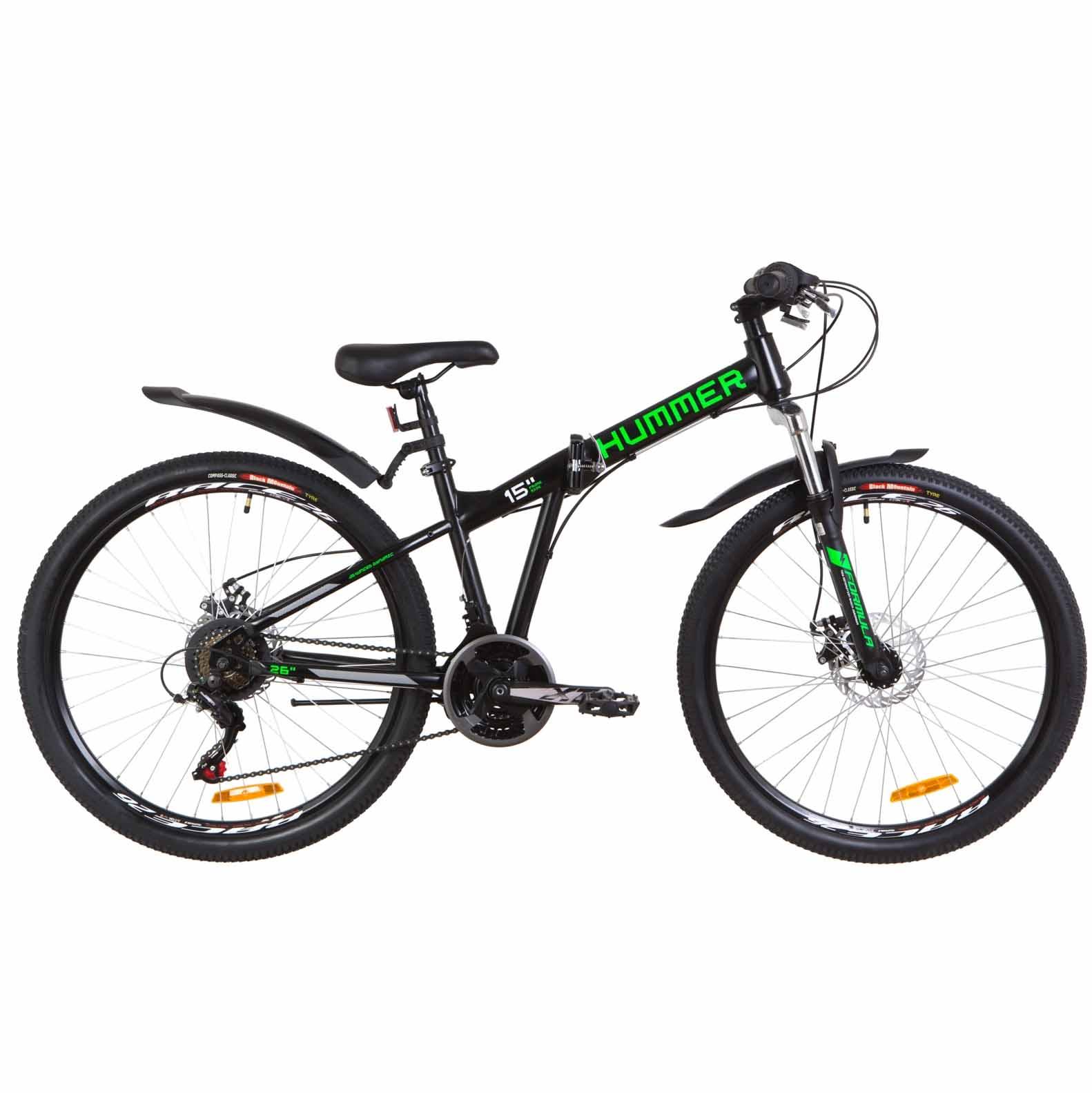 Фото Велосипед 26″ Formula HUMMER AM 14G  DD  рама-15″ St черно-салатный (м)  с крылом Pl 2019