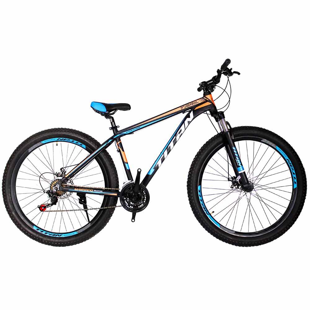 Фото Велосипед Titan Trail 29 черно-сине-оранжевый