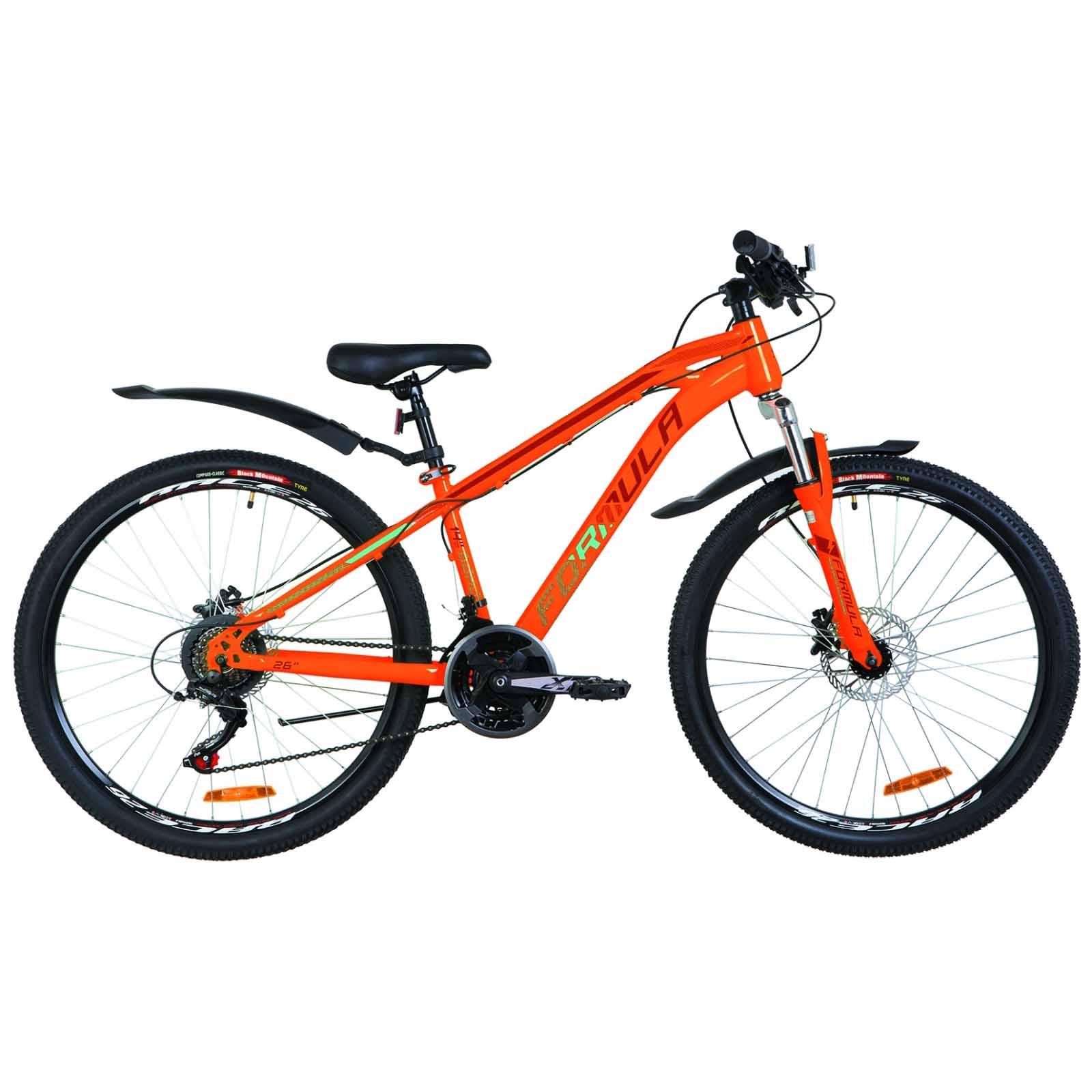 Фото Велосипед 26″ Formula DAKAR AM 14G  DD  рама-14″ St оранжево-бирюзовый  с крылом Pl 2019