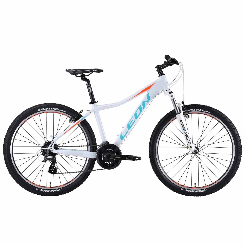 Фото Женский Горный Велосипед 26 Leon HT-LADY рама-16 бело-голубой с оранжевым   2019